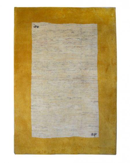 Alfombra manual persa GABBEH 175x245 en color beige con cenefa amarilla