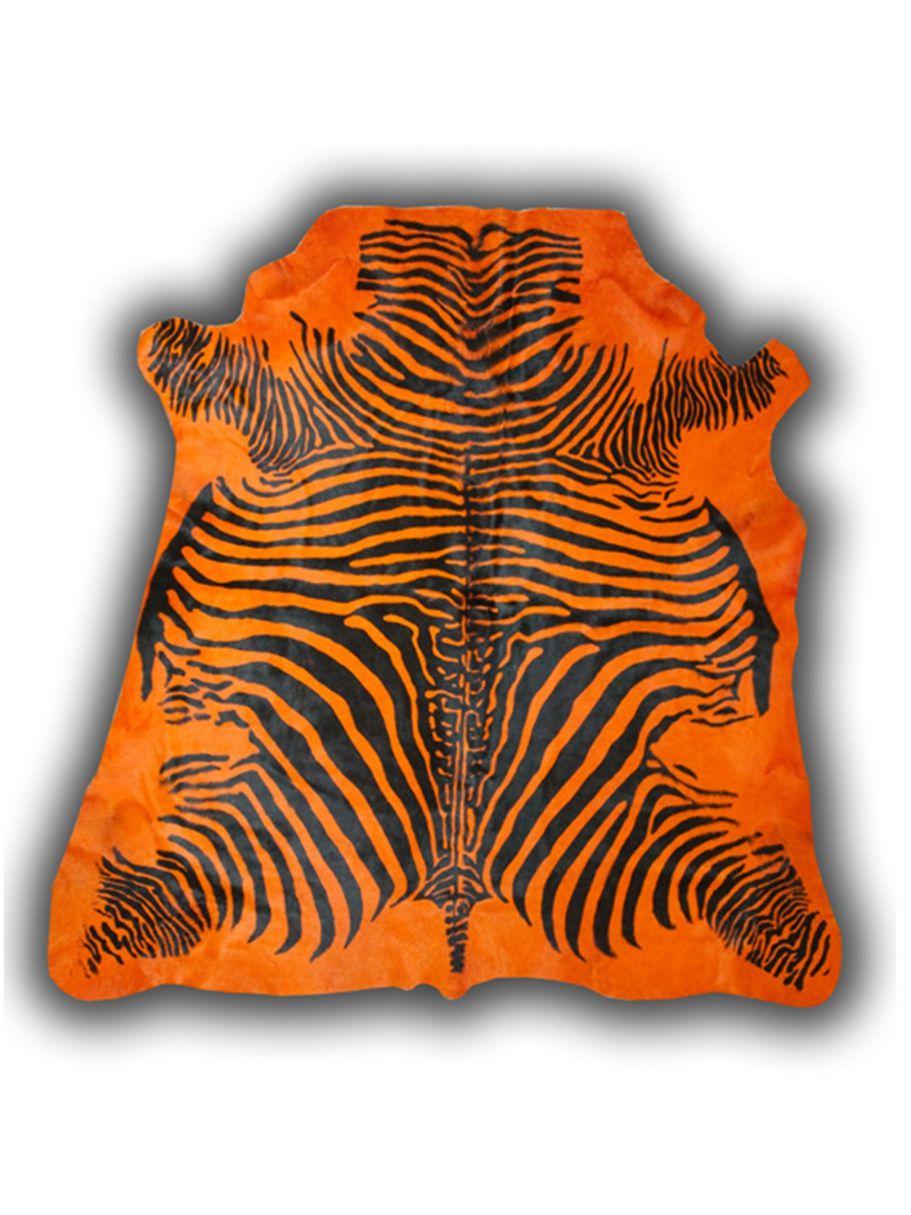Alfombra de piel de toro con dise o cebra color naranja alfombras nelo - Alfombras de cebra sintetica ...