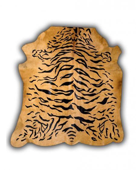 Alfombra de piel de toro natural diseño tigre