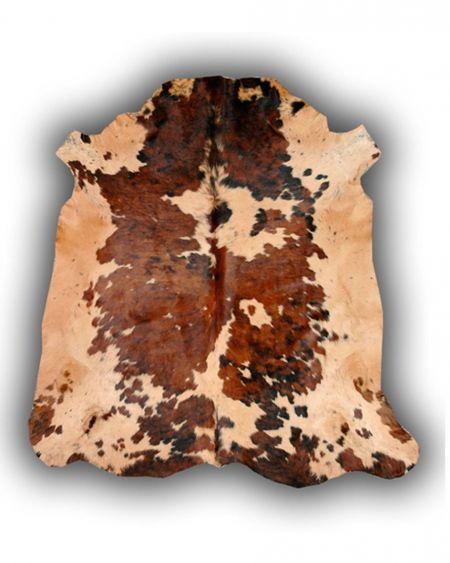 Alfombra de piel natural de toro normando tintada beige