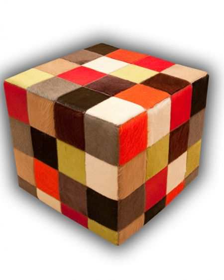 Puff de piel natural diseño patchwork multicolor