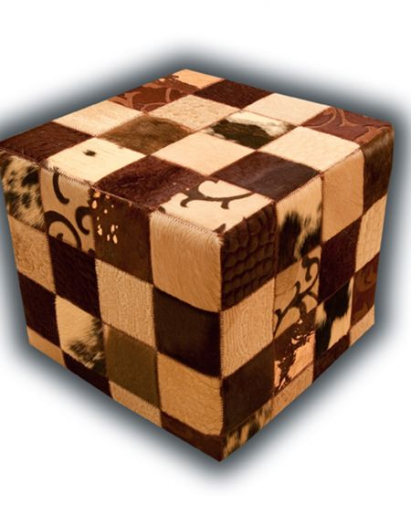 Puff de piel natural color beige-marrón diseño patchwork