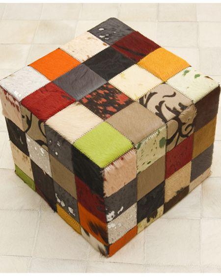 Puff de piel natural diseño patchwork dibujo multicolor