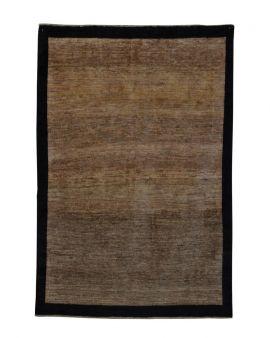 Alfombra manual GABBEH EXTRA 166x241 en color marrón con cenefa marrón oscuro