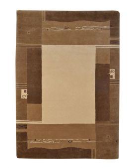 Alfombra manual de lana Rewa Nepal marrón 170x240