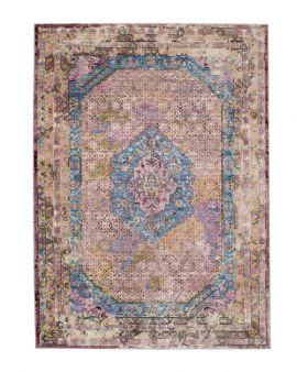 Alfombra estilo clásico vintage Ikat 24023 azul y rosa