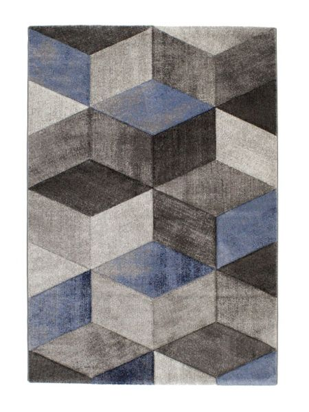 Alfombra moderna azul Indigo dibujo geométrico 2283-07