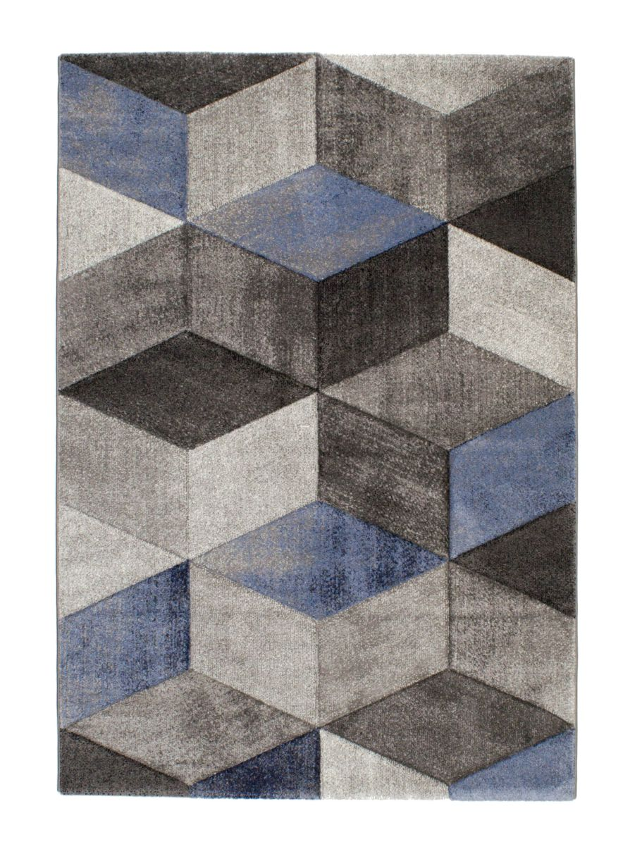 Alfombra moderna azul Indigo dibujo geométrico 2283 07