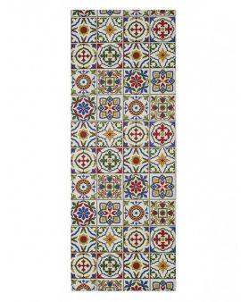 Alfombra lavable Amalfi estilo hidráulico con azulejos vintage