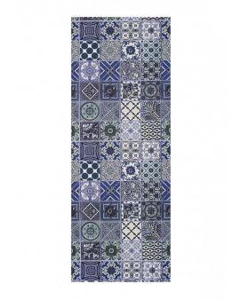 Alfombra lavable Ceramics estilo hidráulico en tonos azules., diseño vintage