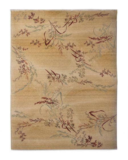 Alfombra de lana diseño japonés Kirman Shirakami Beig