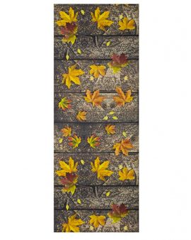 Alfombra lavable Autunno estilo madera otoñal con diseño madera y hojas otoñales