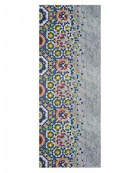 Alfombra lavable Mosaico estilo vintage con base gris y mosaico multicolor