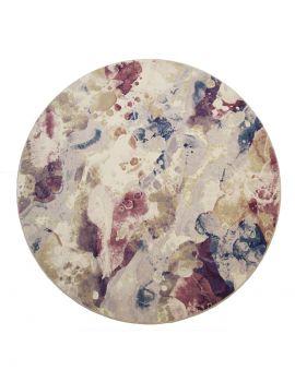 alfombra redonda Argentum 63320 9191 multicolor en tonos fríos y rosas